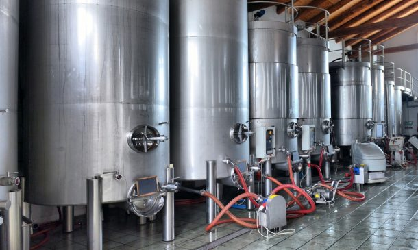 Stainless steel wine vats in a row